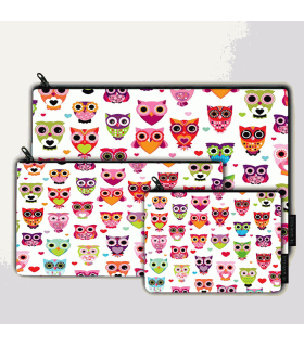 owl art printed pouch bag