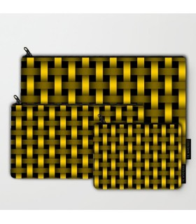 yellow and black lining art printed pouch bag