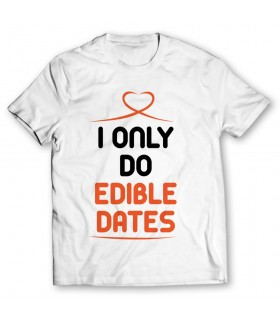 edible dates printed graphic t-shirt