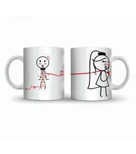 ribbon love couple art printed mug