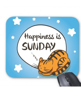 happiness is sunday art printed mouse pad