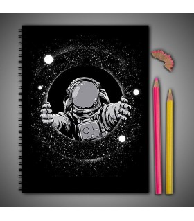 space man art printed notebook