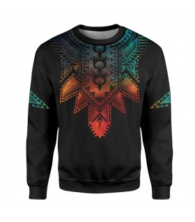 boho neck art printed sweatshirt
