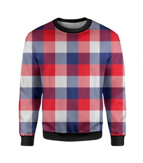 red check pattern printed sweatshirt