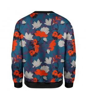 blue floral printed sweatshirt