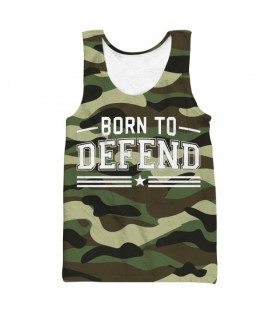 born to defend all over printed tank top