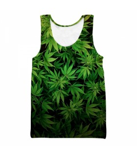 weed all over printed tank top