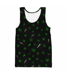 weed joint all over printed tank top