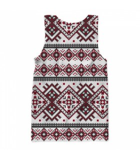 knitting geometric all over printed tank top