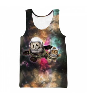 panda and cat all over printed tank top