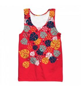 tropical leaves all over printed tank top