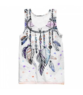 watercolor feathers all over printed tank top