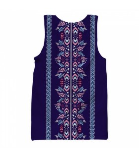 Dark blue floral all over printed tank top