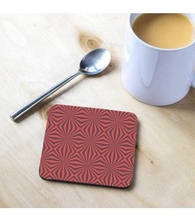 Black Red Kaleidoscope Tea Coaster