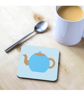 Blue Teapot Printed Tea Coaster