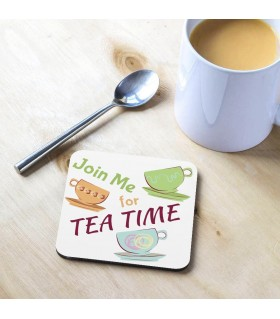 Join Me Tea Time Printed Tea Coaster