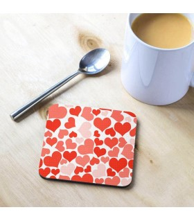 Lovely Hearts Doodle Printed Tea Coaster