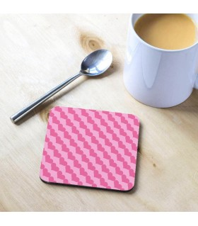 Pink Valentine Heart Printed Tea Coaster