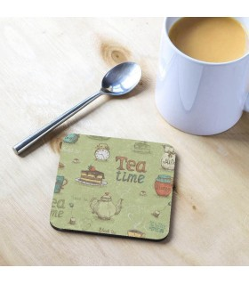 Tea and Honey Tea Time in Green Printed Tea Coaster