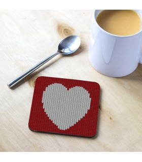 wool heart Printed Tea Coaster