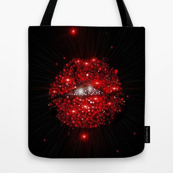 glow kiss art printed tote bag