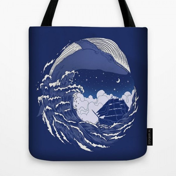 Round Sea Art Printed Tote Bag