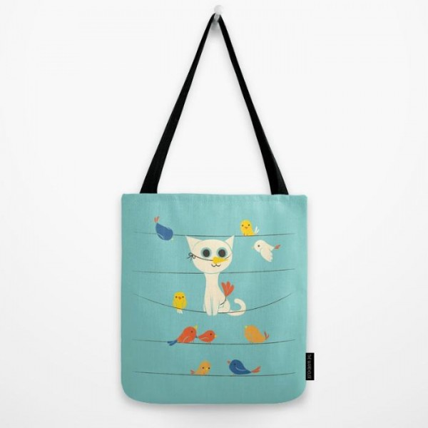 Bird Watching Art Printed Tote Bag
