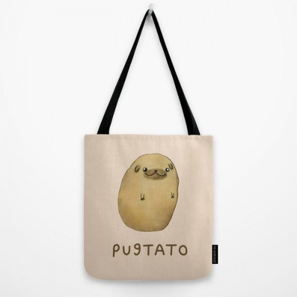 Pugtato Art Printed Tote Bag