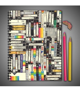 vcr cassette art printed notebook