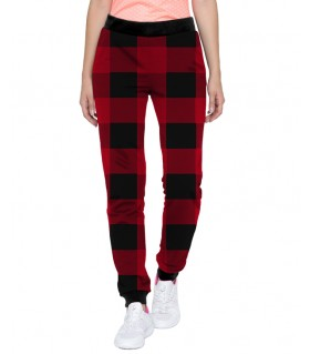 red and black check women jogger pant